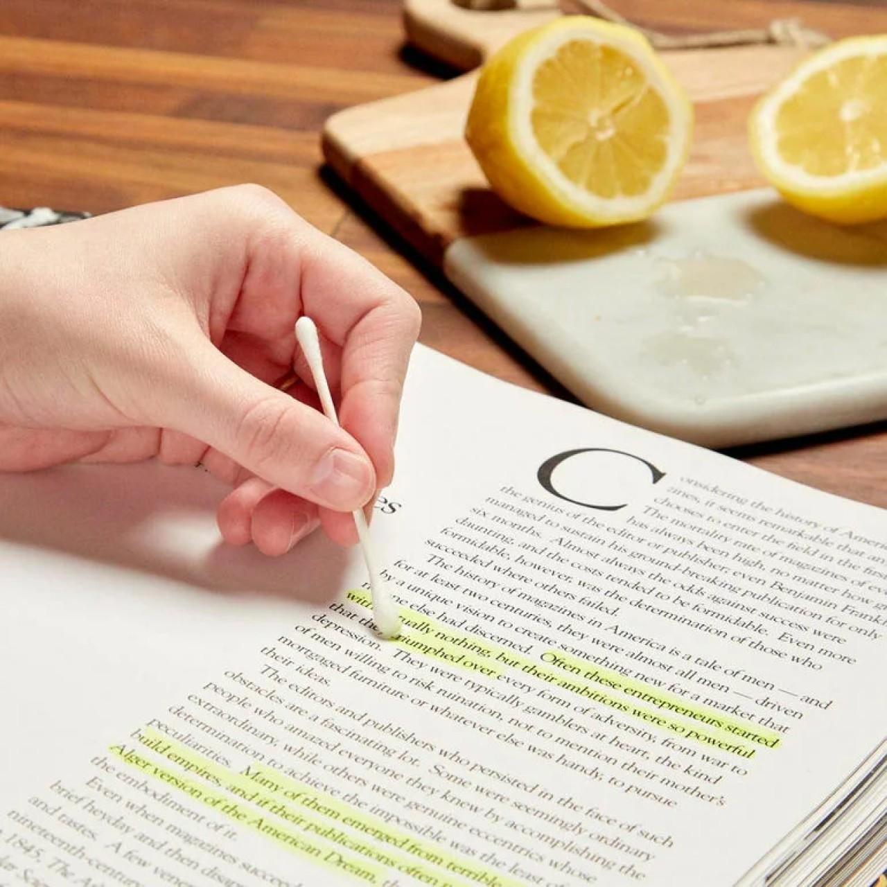 Удаление пометок из книги лимонным соком